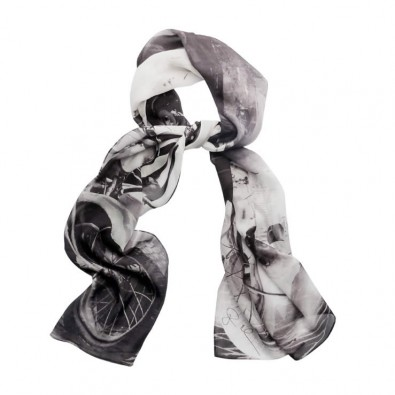 Luxury Silk Scarf Black and White Tel Aviv Vintage Motorbike