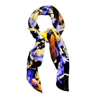 Ladies Luxury Silk Scarf; Bluebells and Graffiti, double georgette silk scarf