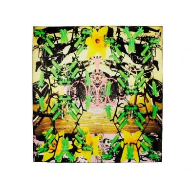 Ladies Luxury Silk Scarf; Hyper Greenbells