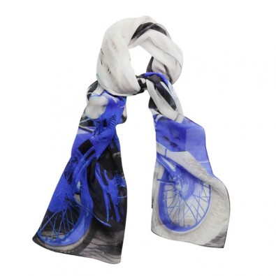 Luxury Silk Scarf Royal Blue Tel Aviv Vintage Motorbike