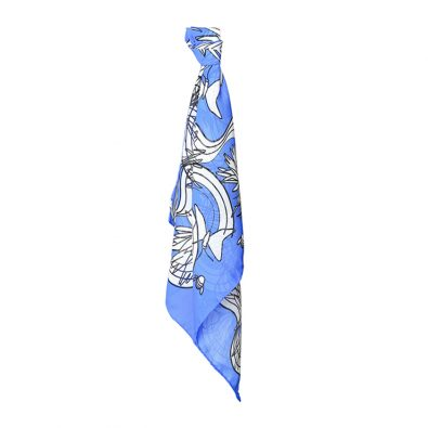 ButtnBee Free Drawing Luxury Silk Pocket Square; Blu