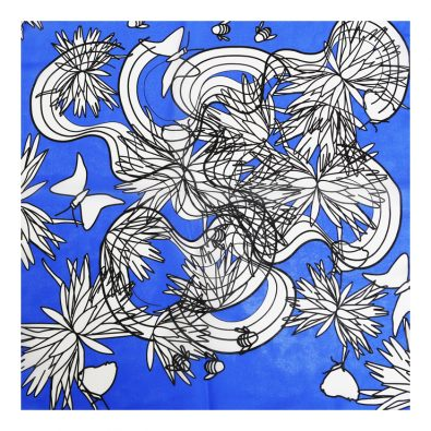ButtnBee Free Drawing Luxury Silk Pocket Square; Blu