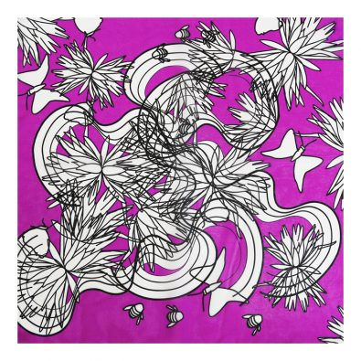 ButtnBee Free Drawing Luxury Silk Pocket Square; Pink