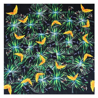 ButtnBee Luxury Silk Pocket Square Gringe Tropical