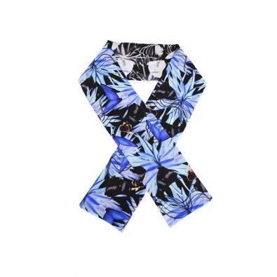ButtnBee Luxury Silk Skinny Scarf; Vibrant Blu