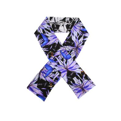 ButtnBee Luxury Silk Skinny Scarf; Purple Haze